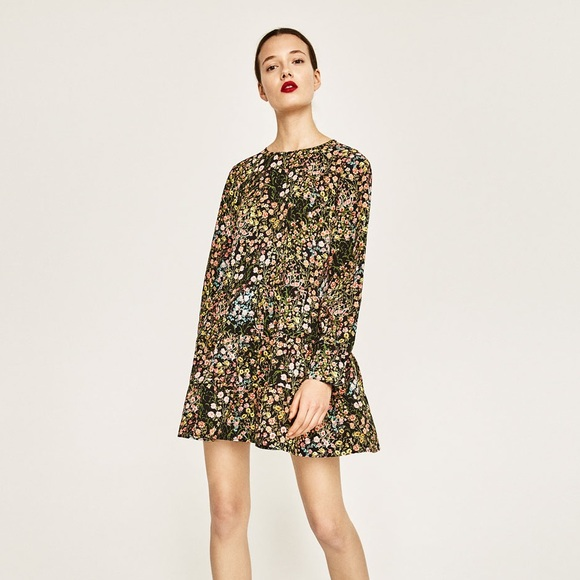 64c49324010 Zara Floral Shift Tunic Dress Bell Sleeves Medium.  M_5a56ea02f9e501c5060050ba